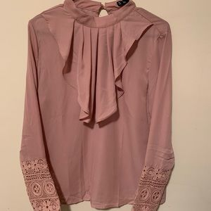 Blush Pink Lace Embelleshed Blouse with Ruffles